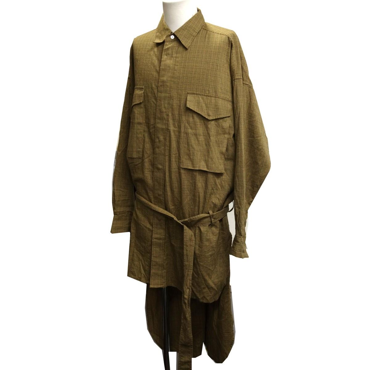 【中古】Maison MIHARA YASUHIRO チェックシャツベルテッドコート ベージュ サイズ:46 【050420】(メゾンミハラヤスヒロ)