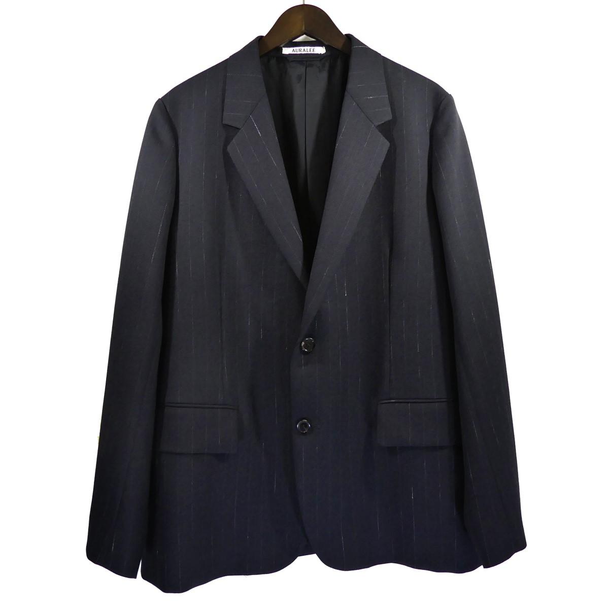 【中古】AURALEE20SS WOOL CUPRA LINEN CLOTH JACKET ウールキュプラリネンジャケット ネイビー サイズ:4 【5月11日見直し】