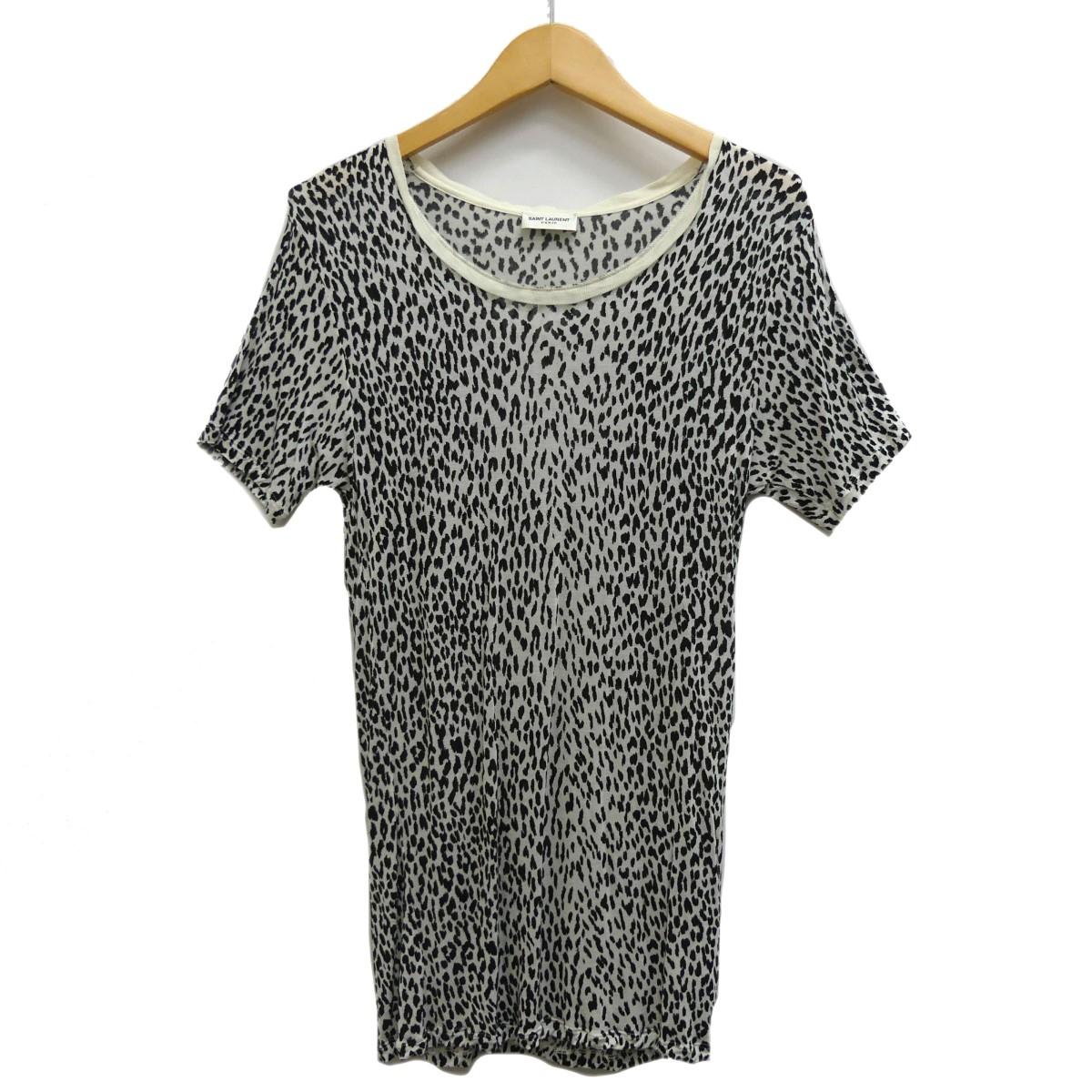 【中古】SAINT LAURENT PARIS ベイビーキャット 総柄Tシャツ ホワイト×ブラック サイズ:S 【060420】(サンローランパリ)