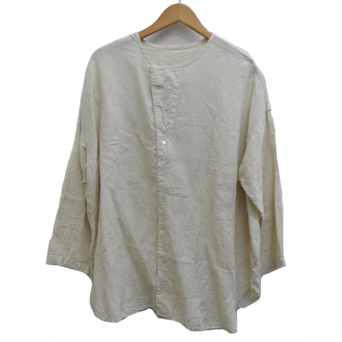 【中古】nest Robe 20SS リネンノーカラーシャツ ベージュ サイズ:Free 【060420】(ネストローブ)