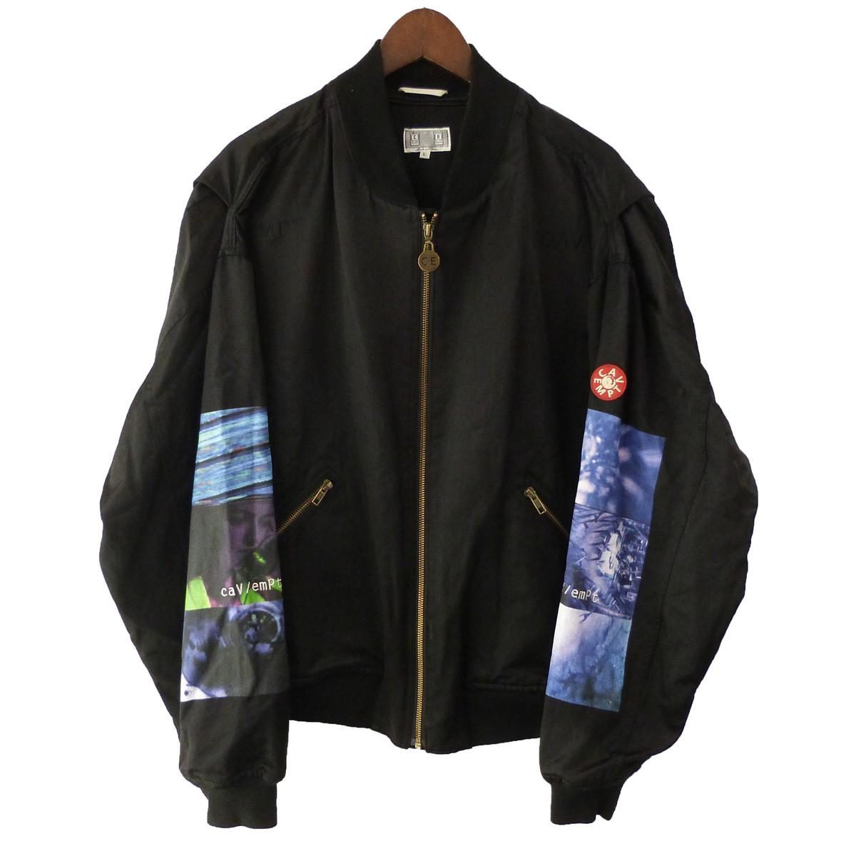 【中古】C.E 「DRIFT ZIP JACKET 」 グラフィックボンバージャケット ブラック サイズ:L 【060420】(シーイー)