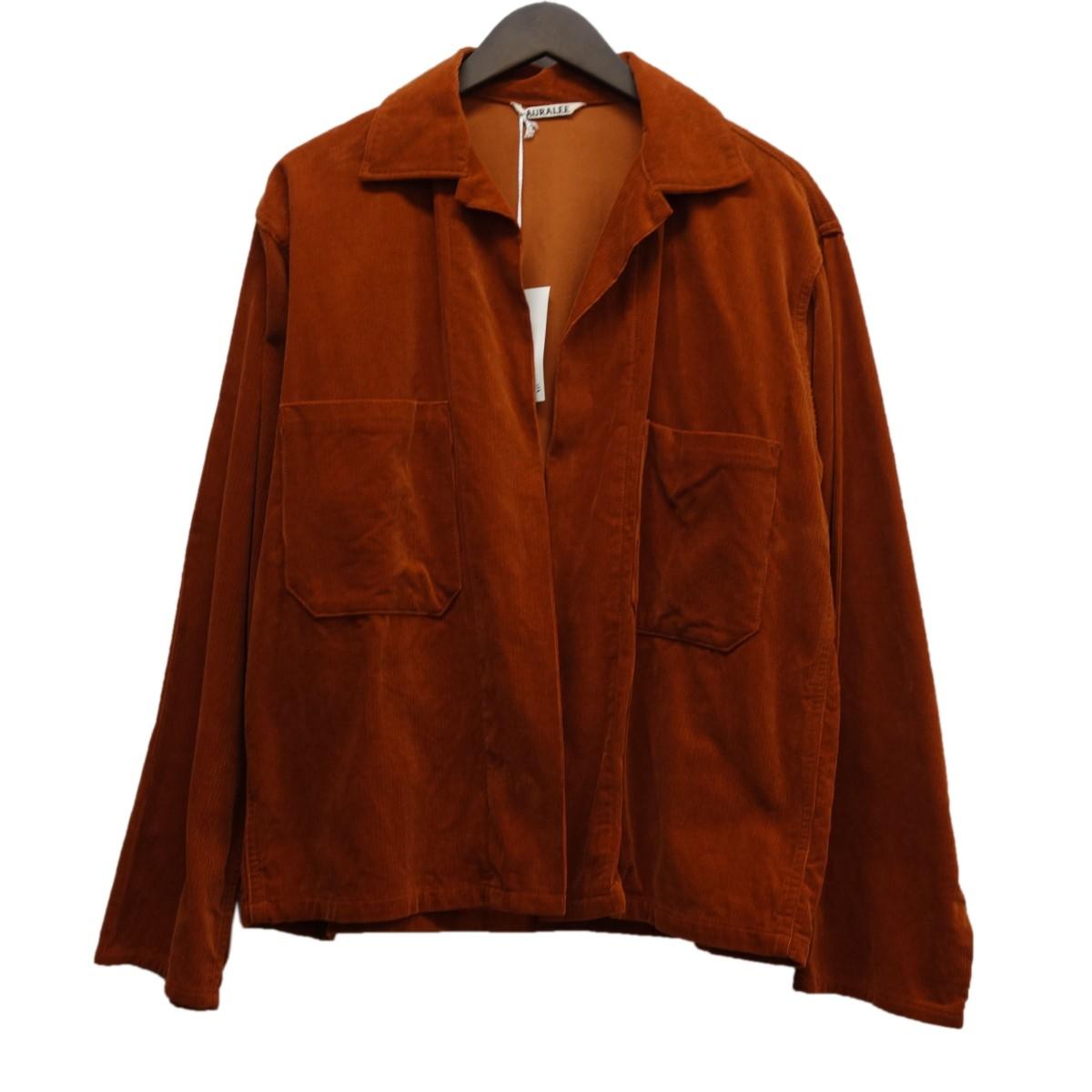 【中古】AURALEE 18SS「WASHED CORDUROY SHIRTS JACKET」コーデュロイシャツジャケット ブリックレッド サイズ:3 【060420】(オーラリー)