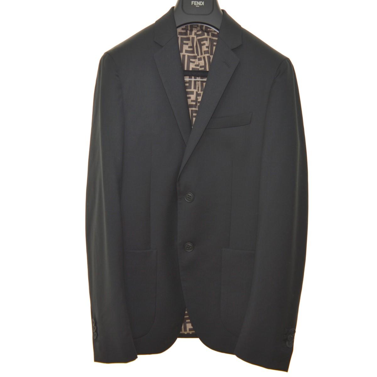 【中古】FENDI 2Bテーラードジャケット ブラック サイズ:44 【060420】(フェンディ)