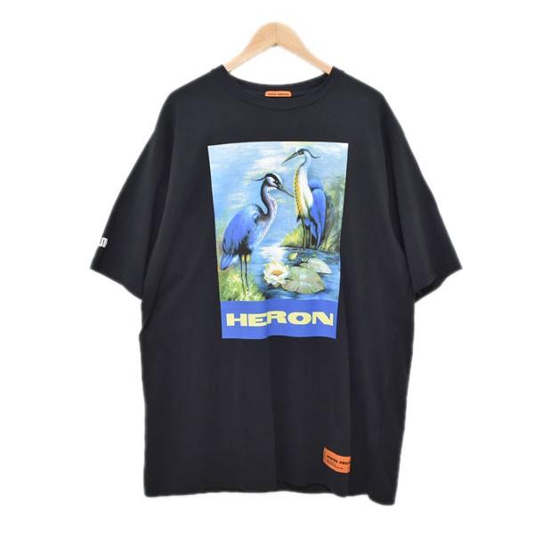 【中古】HERON PRESTON 19AW プリントTシャツ OVER TSHIRT SS PERMANENT ブラック サイズ:M 【070420】(ヘロン プレストン)