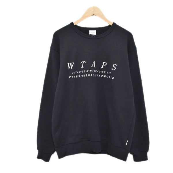 【中古】WTAPS 19AW ロゴ刺繍スウェットトレーナー SYSTEM CP SWEAT ブラック サイズ:01 【070420】(ダブルタップス)