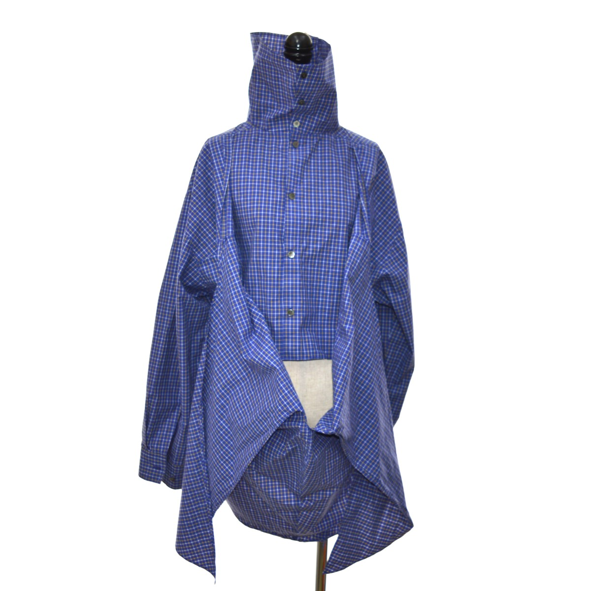 【中古】IRENE 19AW Check Back Knot Shirt-9 シャツ ネイビー サイズ:36 【070420】(アイレネ)