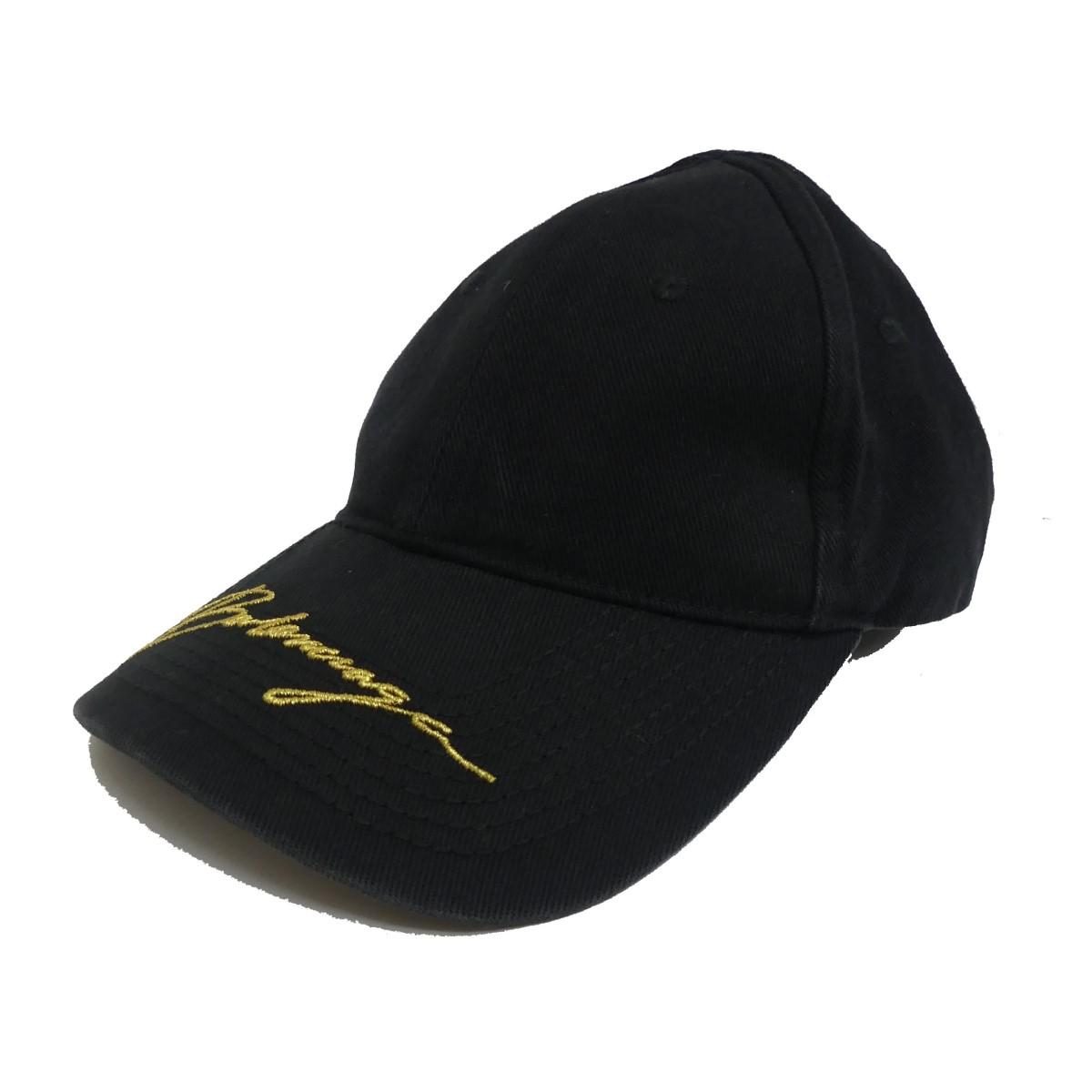 【中古】BALENCIAGA 19AW Gold Logo Cap キャップ ブラック サイズ:L 【070420】(バレンシアガ)