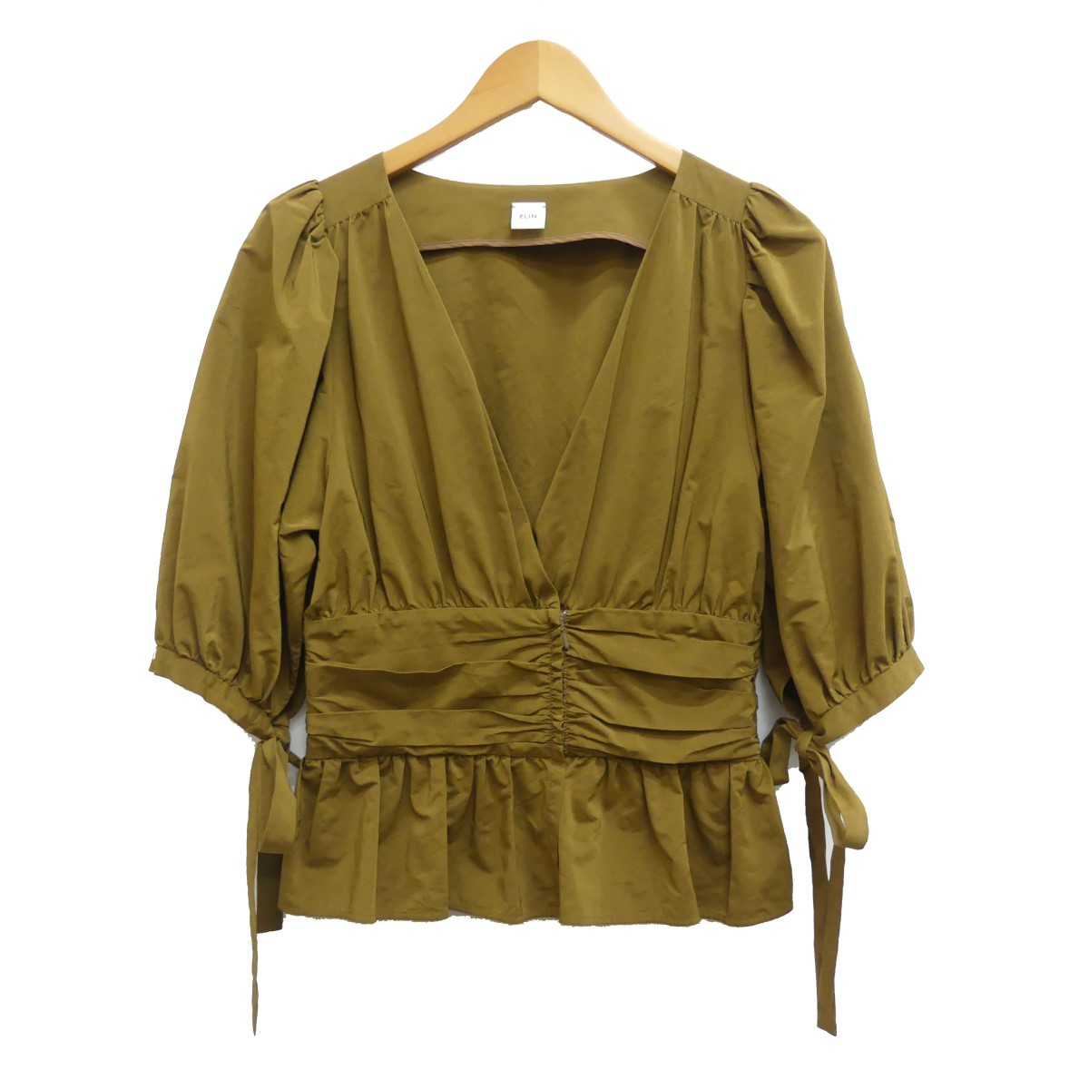 【中古】ELIN 17SS タフタウエスト ギャザートップシャツ ブラウス ブラウン サイズ:38 【070420】(エリン)