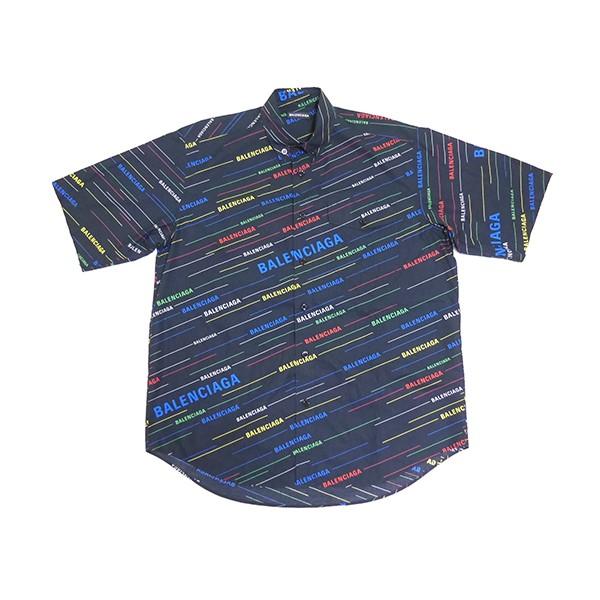 【中古】BALENCIAGA 2019SS マルチカラー ロゴ ストライプ シャツ ブラック サイズ:36 【060420】(バレンシアガ)