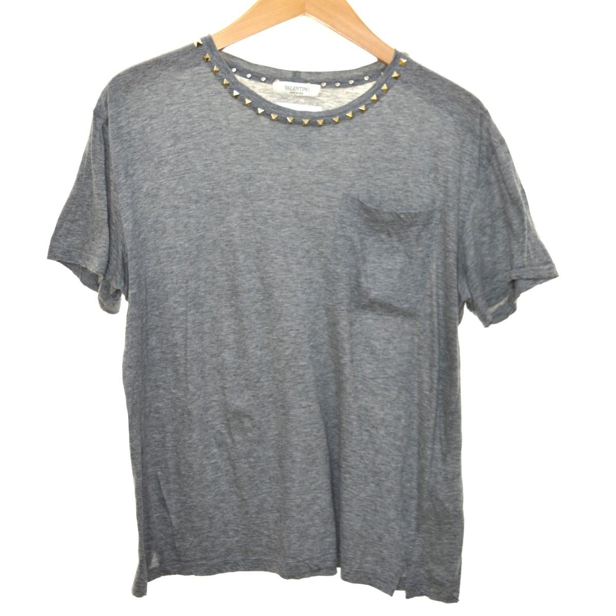 【中古】VALENTINO ロックスタッズTシャツ グレー サイズ:S 【070420】(ヴァレンチノ)