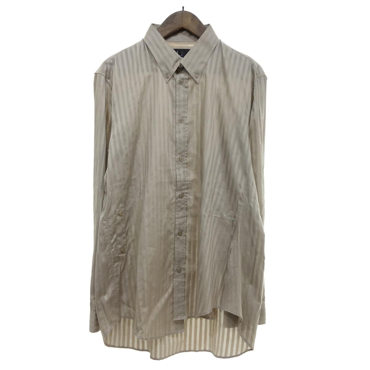 【中古】Martine Rose ロゴ刺繍ストライプ柄織オーバーサイズシャツ ベージュ サイズ:M 【070420】(マーティンローズ)