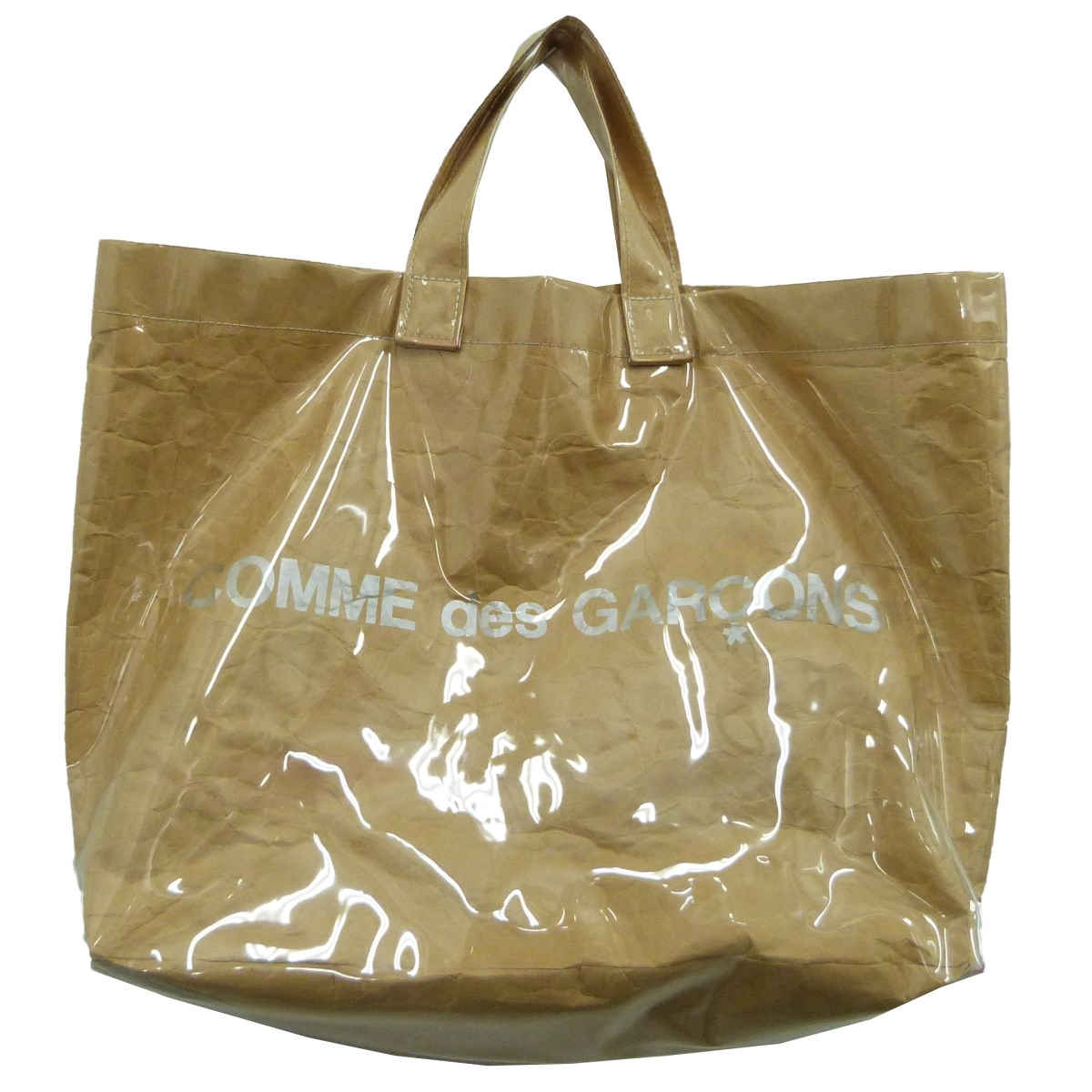 【中古】COMME des GARCONS 「PVC HOPPER TOTE BAG」ビニールペーパートートバッグ クリア×ベージュ サイズ:- 【070420】(コムデギャルソン)