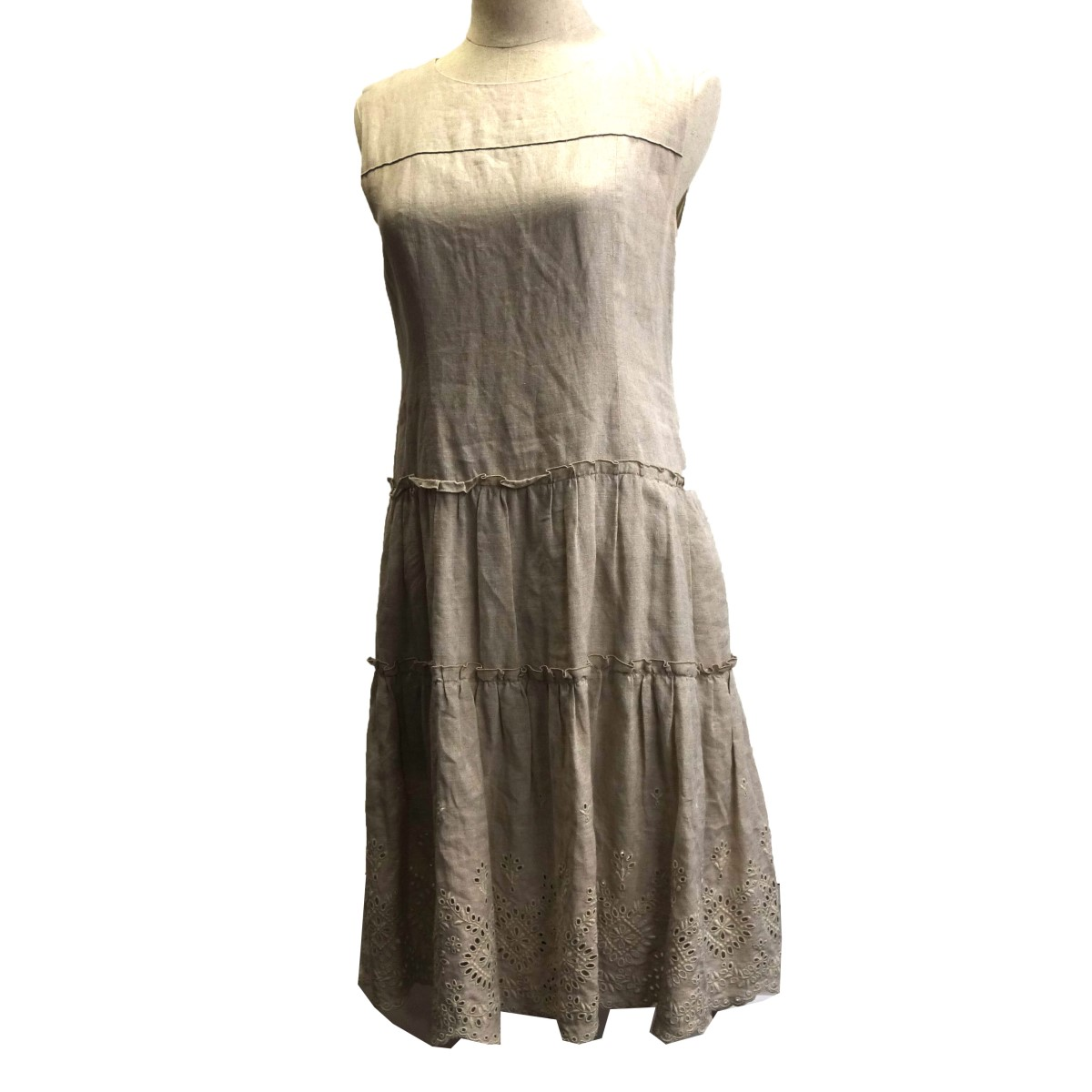 【中古】FOXEY BOUTIQUE 「Dress GARDENIA」 38115 ガーデニアドレスノースリーブワンピース ナチュラル サイズ:40 【070420】(フォクシーブティック)