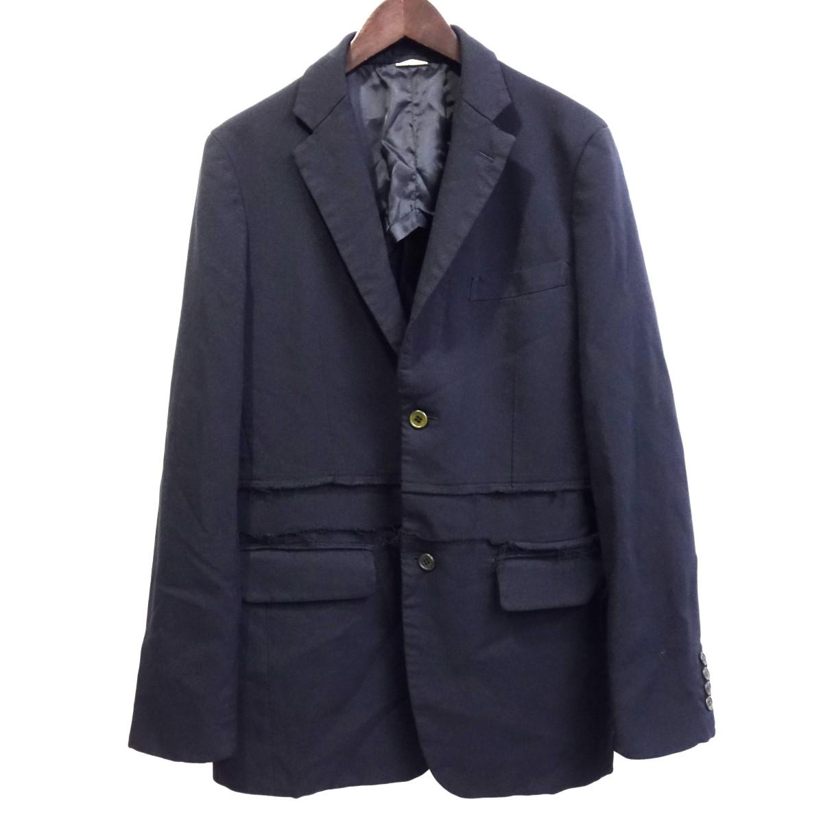 【中古】COMME des GARCONS HOMME DEUX 19SS カツトオフ再構築ポリ縮絨ジャケット ネイビー サイズ:S 【070420】(コムデギャルソンオムドゥ)