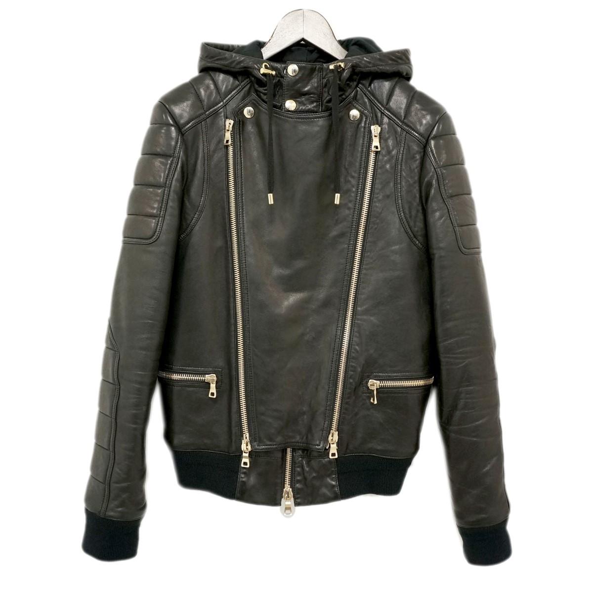 【中古】BALMAINフード付きレザーライダースジャケット W6HC896D592 ブラック サイズ:44 【4月23日見直し】