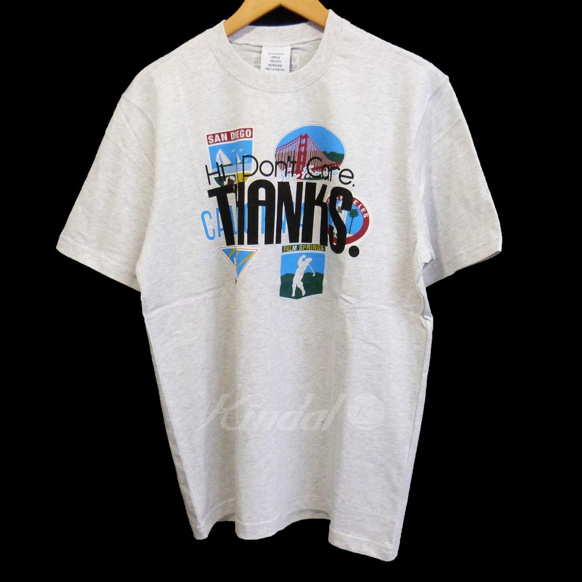 【中古】VETEMENTS 18AW「TOURIST T-SHIRT-CALIFORNIA」プリントTシャツ グレー サイズ:M 【070420】(ヴェトモン)