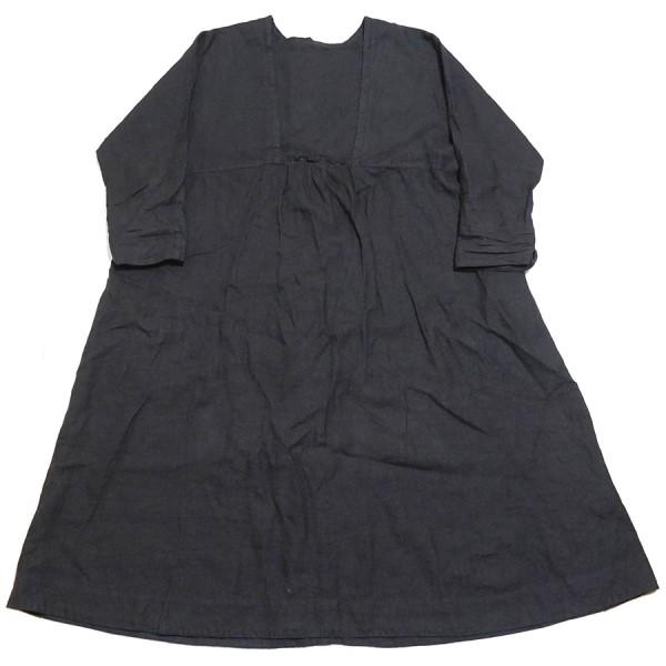 【中古】nest Robe 2020SS リネン ゆる袖 2Way ワンピース ブラック サイズ:F 【070420】(ネストローブ)