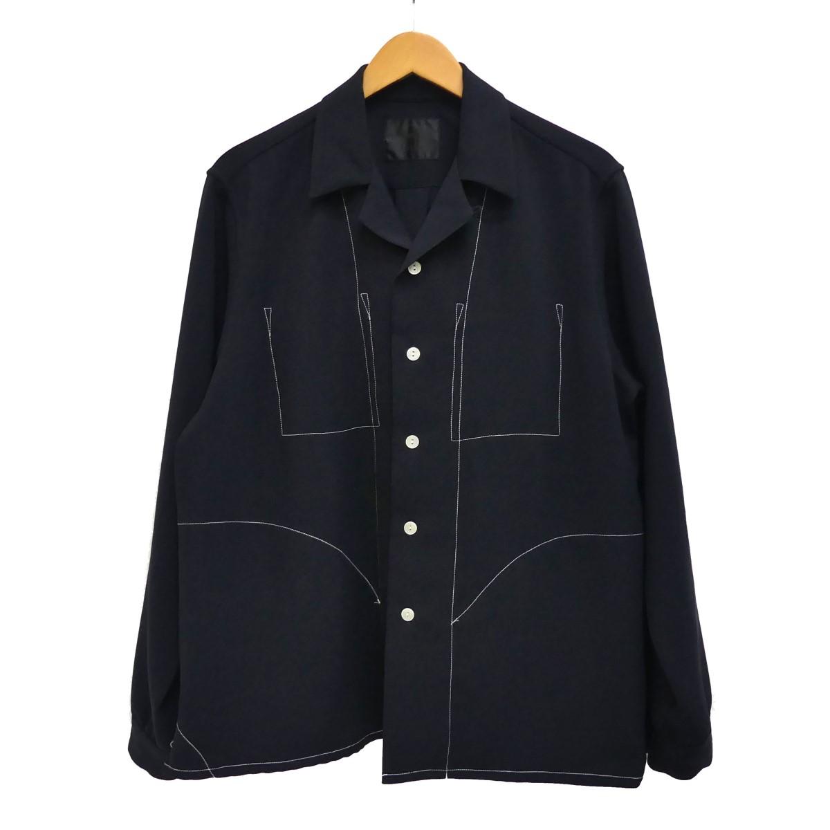 【中古】bukht NEW OPEN COLLAR SHIRT オープンカラーシャツ ネイビー サイズ:2 【080420】(ブフト)