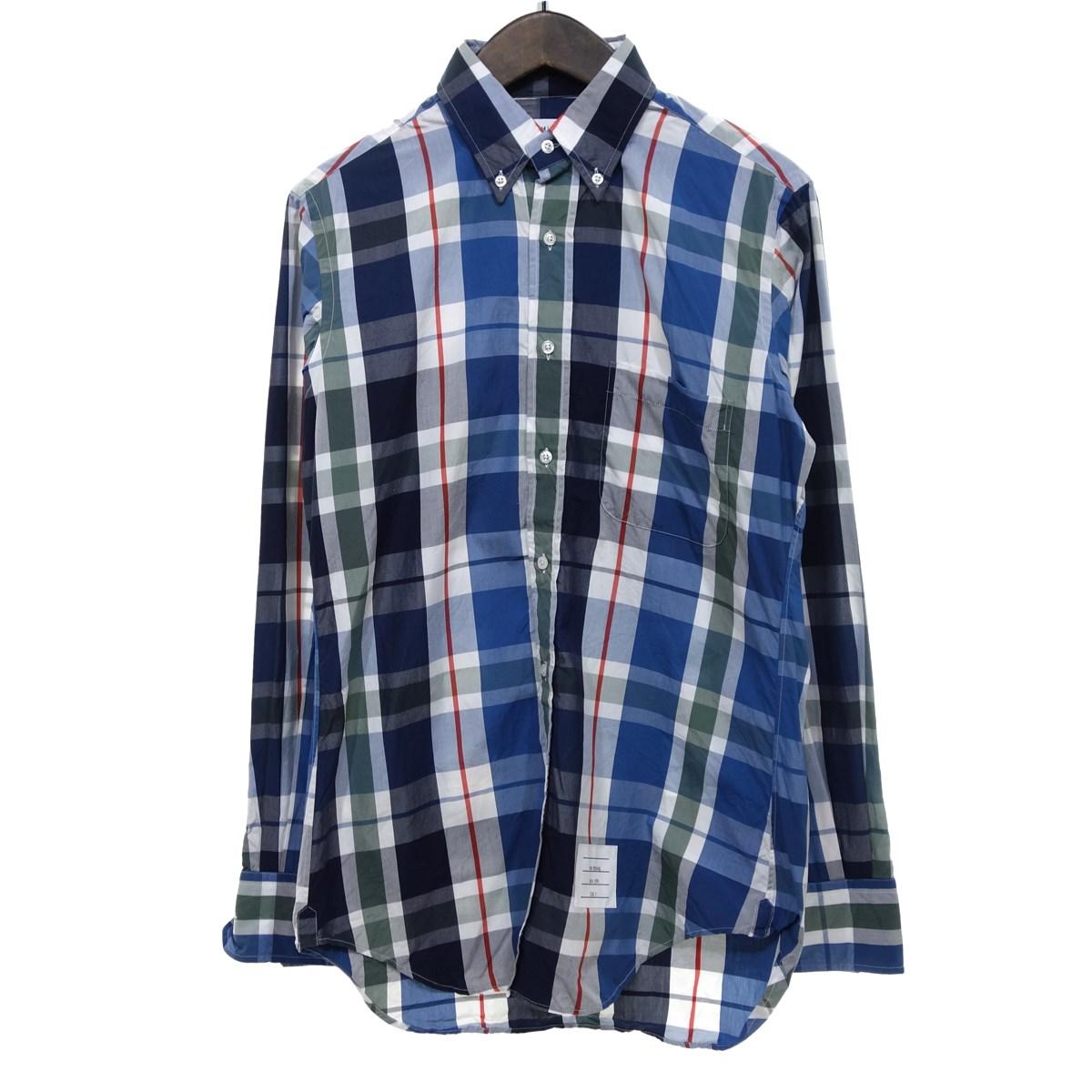 【中古】THOM BROWNE チェック長袖ボタンダウンシャツ マルチカラー サイズ:2 【080420】(トム・ブラウン)