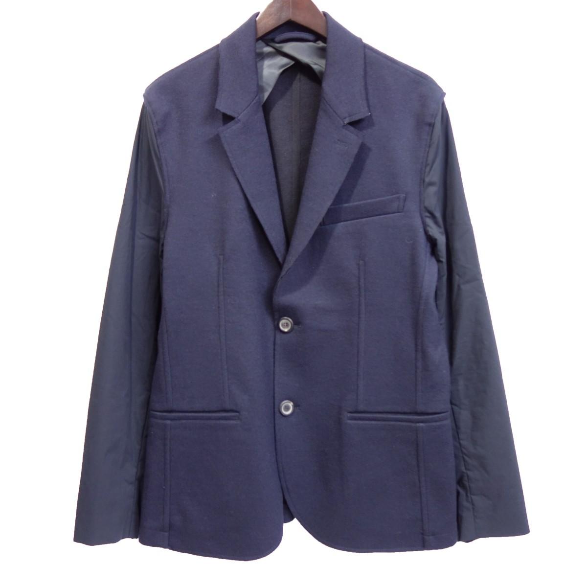 【中古】LANVIN 袖切替ウールテーラードジャケット ブラック×ネイビー サイズ:48 【080420】(ランバン)