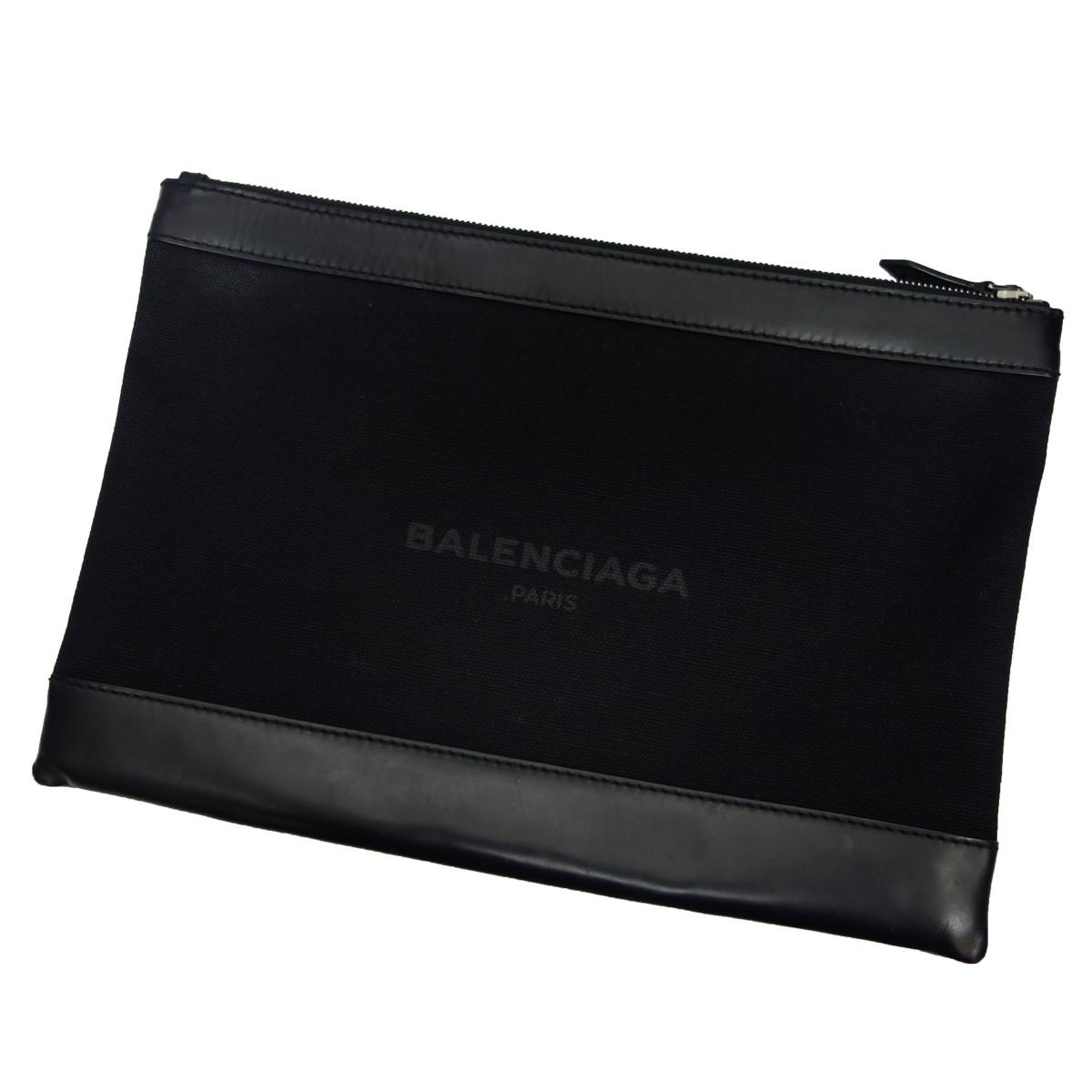 【中古】BALENCIAGA レザー×キャンバスクラッチバッグ ブラック 【080420】(バレンシアガ)