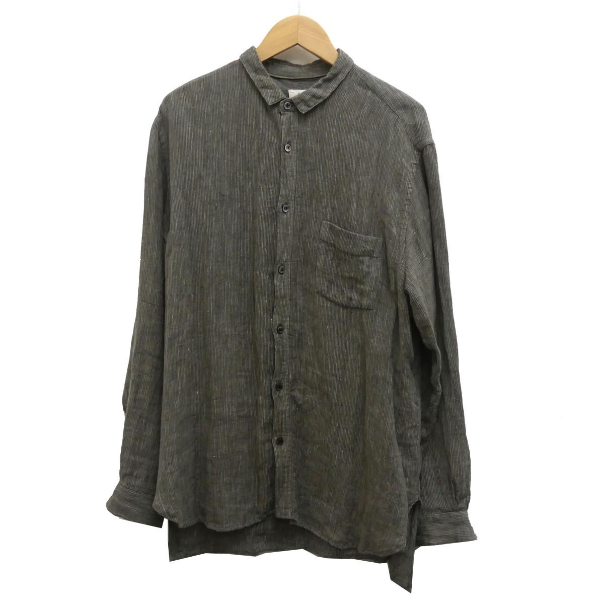 【中古】nest Robe confect 19AW リネンストライプボタンダウンシャツ カーキ サイズ:4 【090420】(ネストローブコンフェクト)