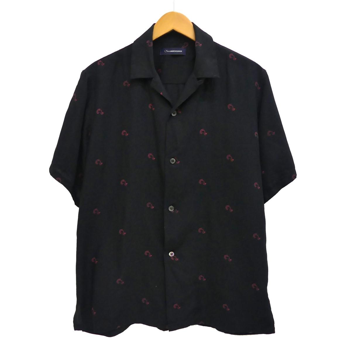 【中古】JohnUNDERCOVER総柄オープンカラーシャツ ブラック サイズ:2
