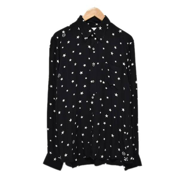 【中古】UNIFORM EXPERIMENT スタープリントBDシャツ RAYON PATTERNED ALL OVER B.D SHIRT ブラック サイズ:2 【090420】(ユニフォームエクスペリメント)
