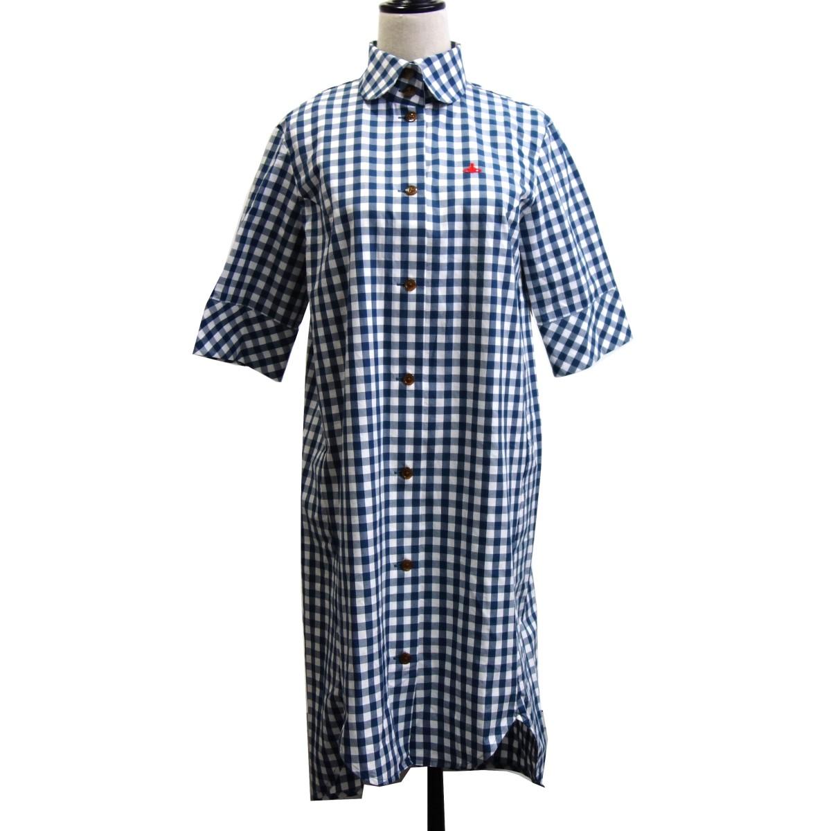 【中古】Vivienne Westwood RED LABEL CHOICE オーブ刺繍ギンガムチェックシャツワンピース ブルー サイズ:2 【090420】(ヴィヴィアンウエストウッド レッドレーベルチョイス)