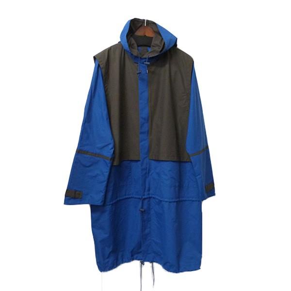 【中古】BRIAN HELLER 裾2WAYナイロンコート ベストレイヤード風ナイロンジャケット ブルー×グレー サイズ:2 【090420】(ブライアンヘラー)
