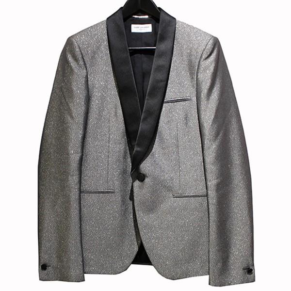 【中古】SAINT LAURENT PARIS 18SS ショールカラーラメ加工テーラードジャケット グレー サイズ:44 【090420】(サンローランパリ)