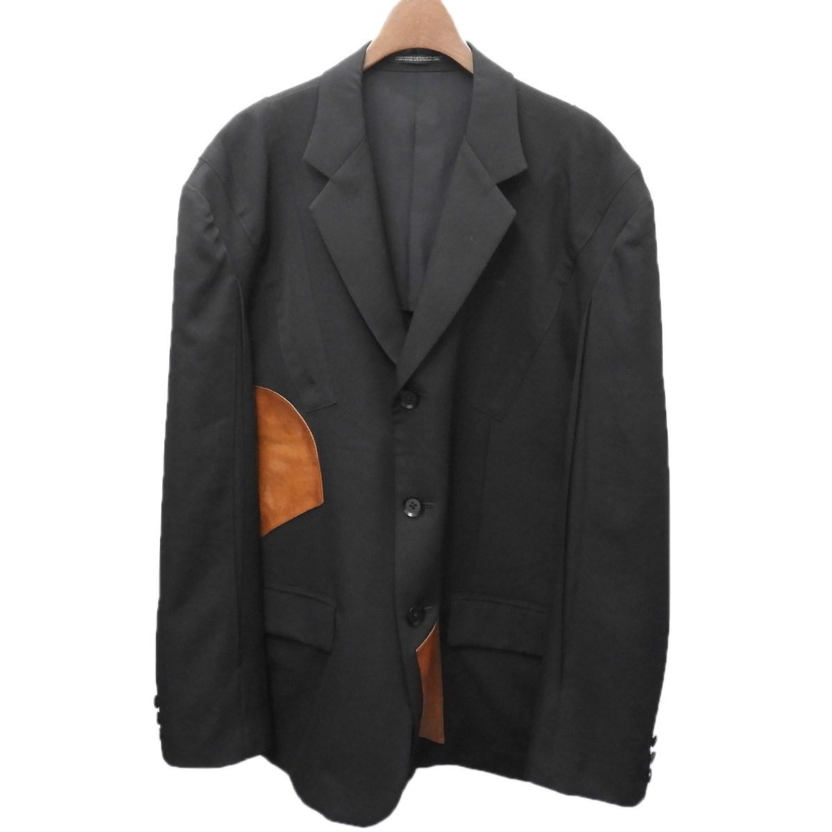 【中古】YOHJI YAMAMOTO pour homme 15SS レザーパッチテーラードジャケット ブラック サイズ:3 【100420】(ヨウジヤマモトプールオム)
