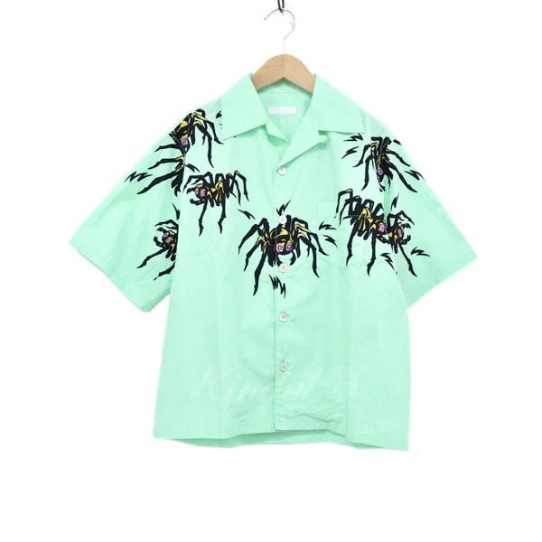 【中古】PRADA オープンカラー半袖シャツ グリーン サイズ:XS 【090420】(プラダ)