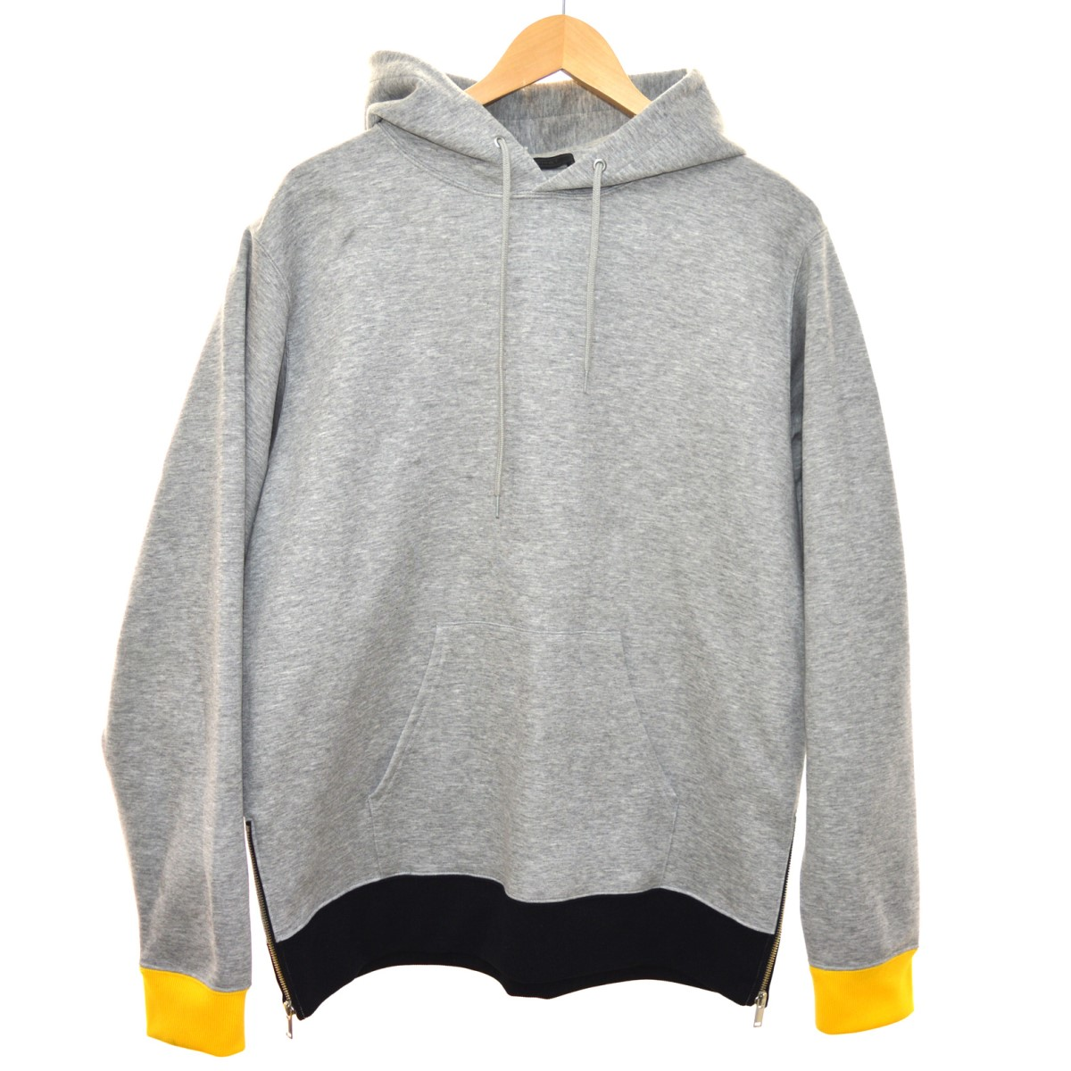 【中古】SOPHNET. 18AW COLOR RIB BET HEM ZIP PULL OVER HOODY パーカー グレー サイズ:XL 【090420】(ソフネット)