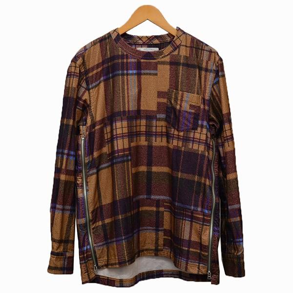 【中古】sacai チェック柄 プルオーバーシャツ チェックシャツ ブラウン×パープル サイズ:1 【090420】(サカイ)