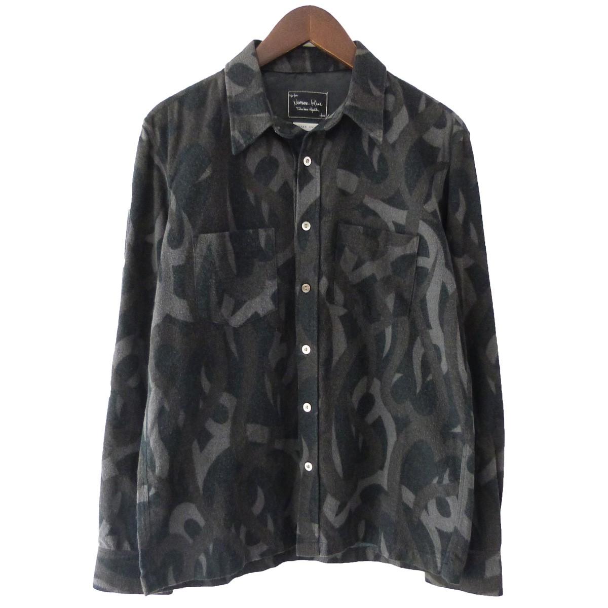 【中古】NUMBER (N)INE ハートトライバル迷彩シャツ ブラック サイズ:2 【100420】(ナンバーナイン)