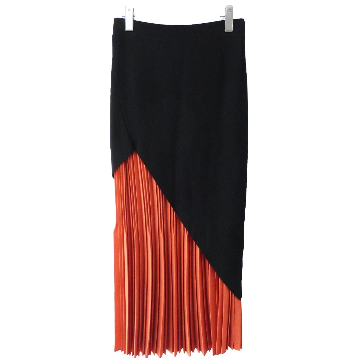 【中古】Y'S ニットプリーツレイヤードスカート オレンジ×ブラック サイズ:2 【100420】(ワイズ)