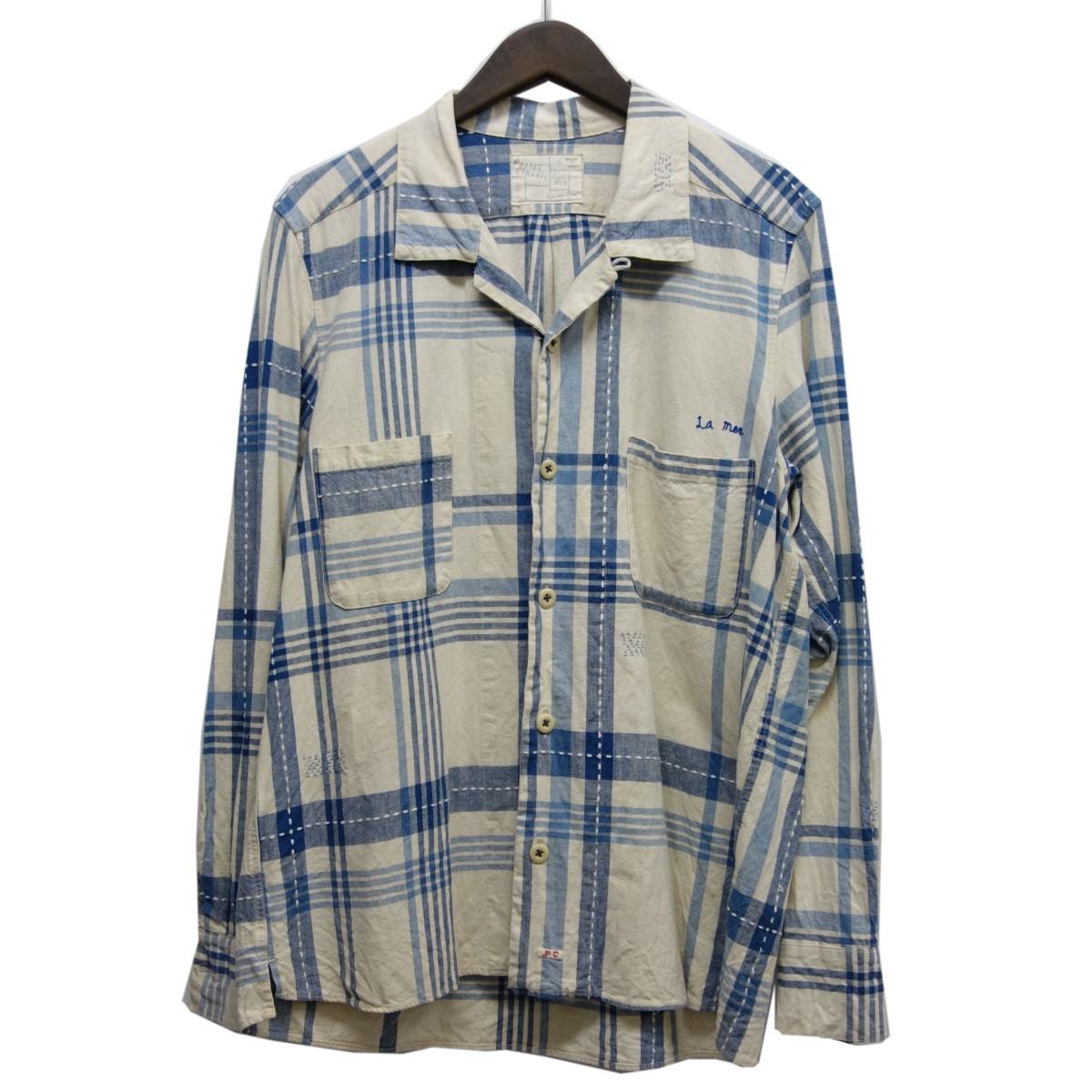 【中古】Porter Classic コットン×リネンハンドワークチェックシャツジャケット オフホワイト×ブルー サイズ:S 【100420】(ポータークラシック)
