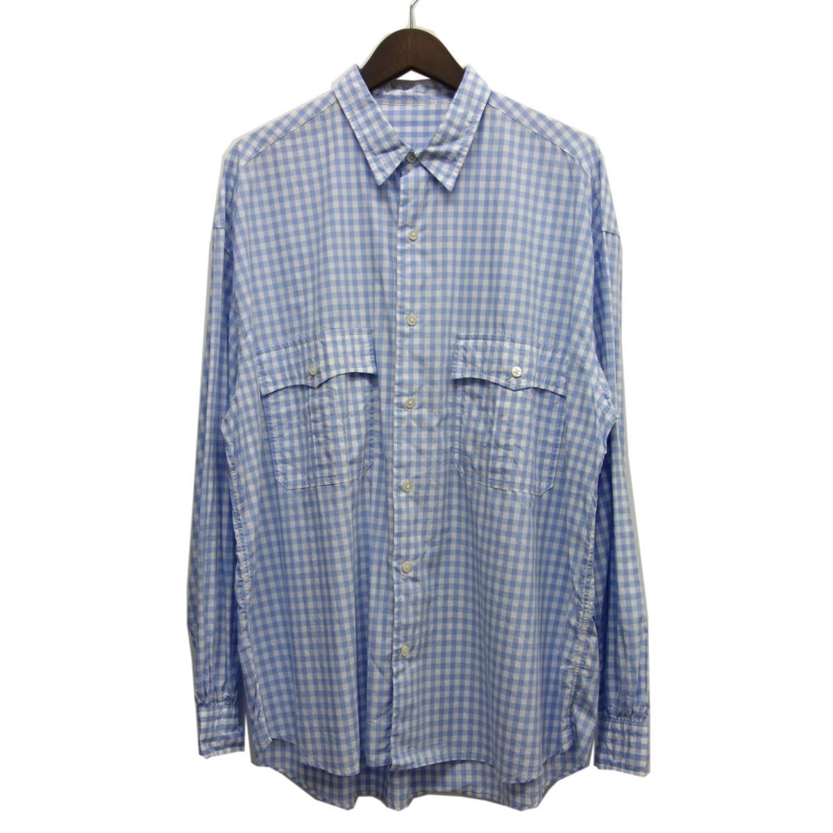 【中古】Porter Classic 「ROLL UP SHIRT」ギンガムチェックロールアップシャツ ライトブルー サイズ:L 【100420】(ポータークラシック)