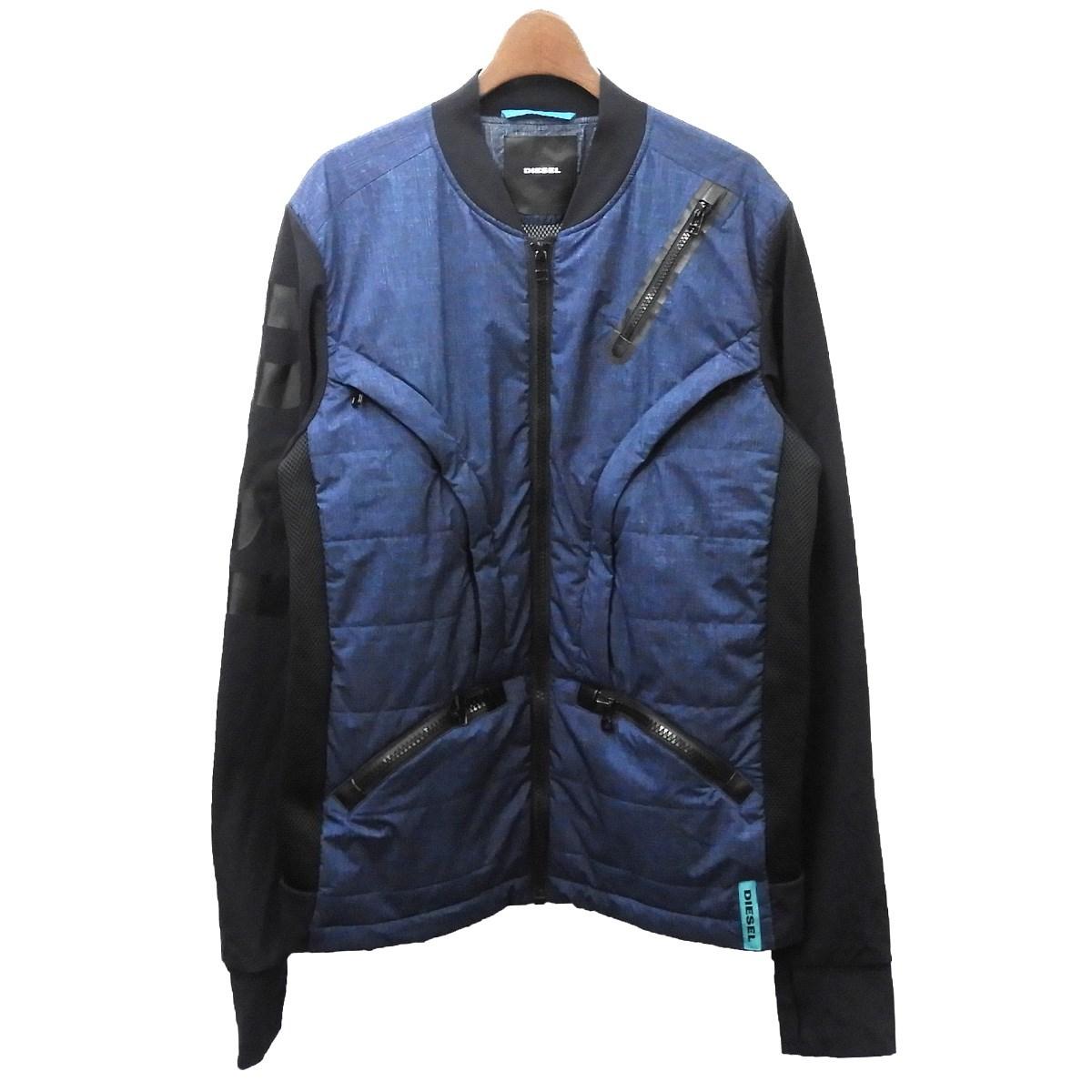 【中古】DIESEL 中綿ジップジャケット ネイビー サイズ:XL 【110420】(ディーゼル)