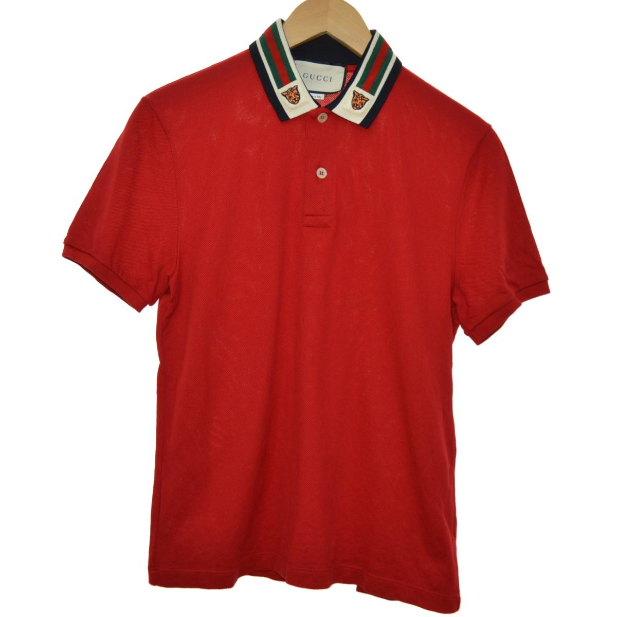 【中古】GUCCI 19SS Web and Tiger Head polo shirt ポロシャツ レッド サイズ:XS 【110420】(グッチ)