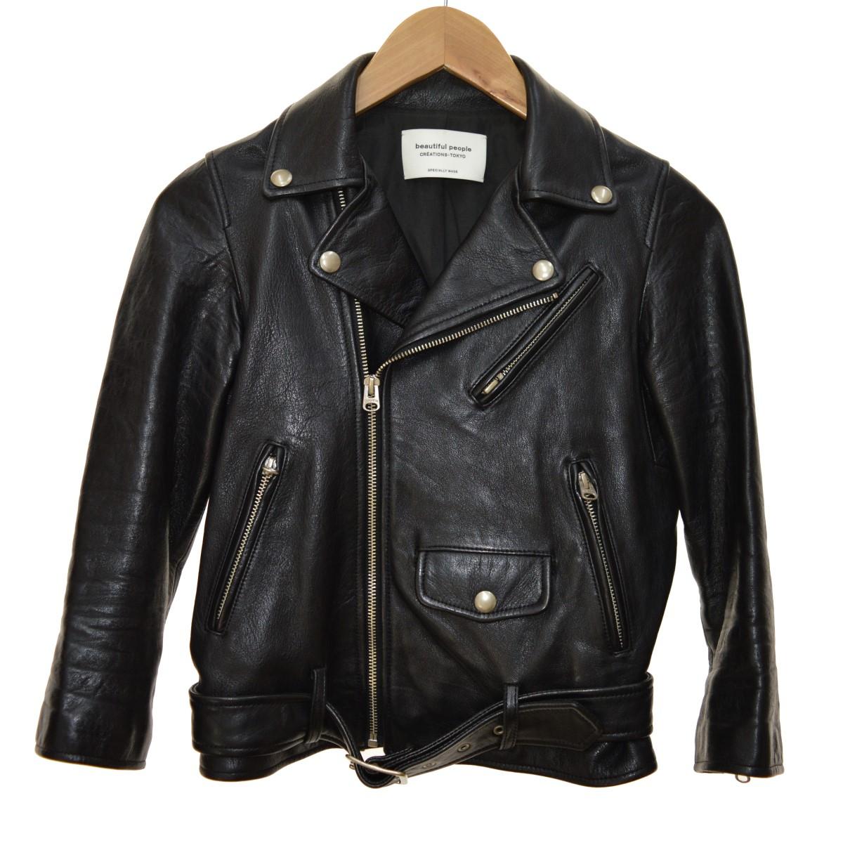 【中古】beautiful people2016 vintage leather riders jacket ダブルライダースジャケット ブラック サイズ:120 【4月23日見直し】