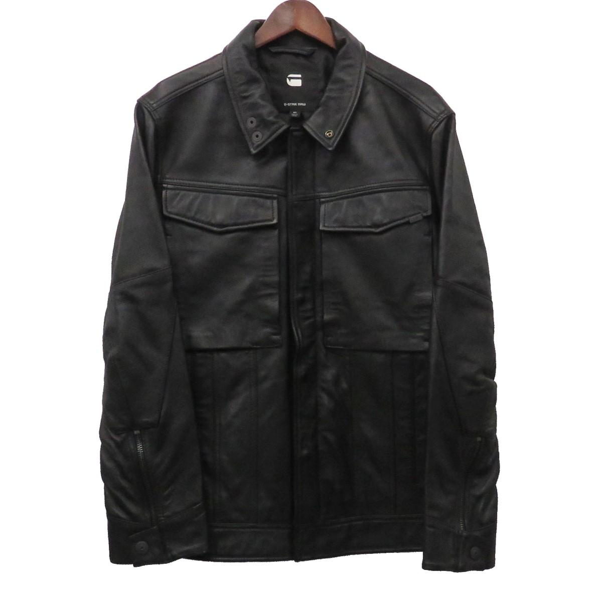 【中古】G-STAR RAW VODAN 3D SLIM LEATHER JKT レザージャケット ブラック サイズ:XL 【110420】(ジースター・ロウ)