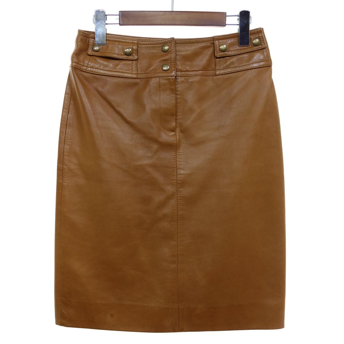 【中古】CELINE ラムレザータイトスカート ブラウン サイズ:36 【110420】(セリーヌ)