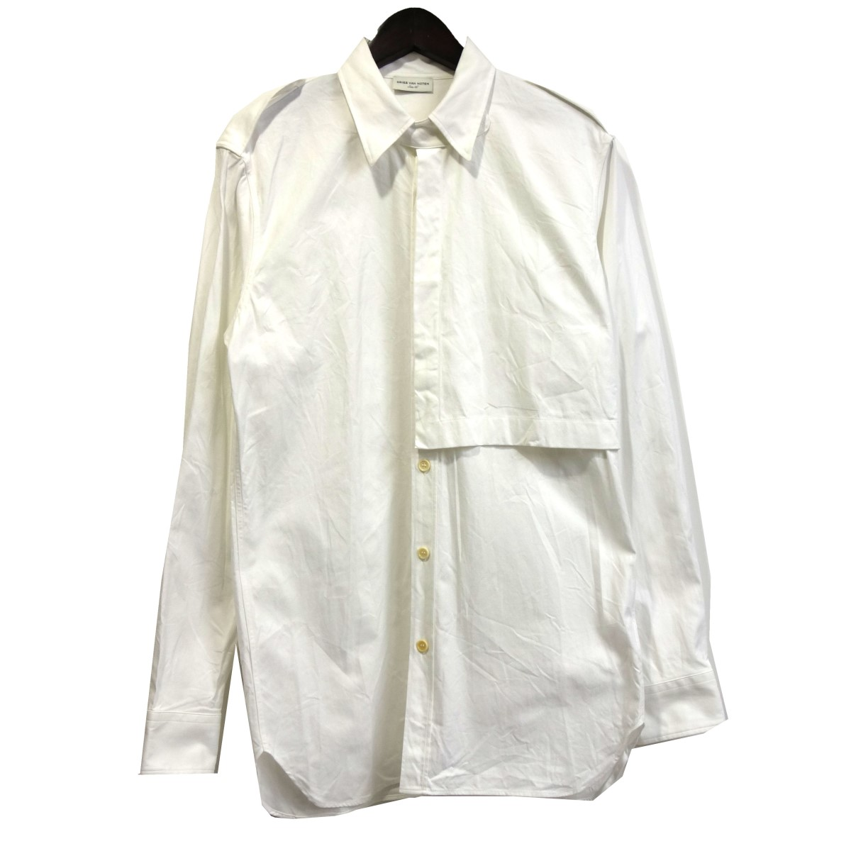 【中古】DRIES VAN NOTEN ミリタリーロングシャツ ホワイト サイズ:46 【110420】(ドリスヴァンノッテン)