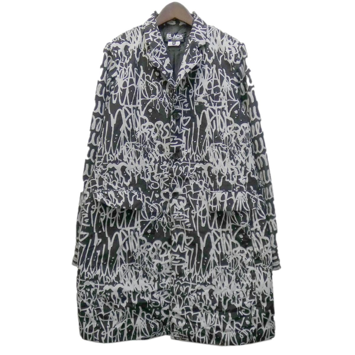 【中古】BLACK COMME des GARCONS 19AW 総柄チェスターコート ブラック サイズ:M 【110420】(ブラック コムデギャルソン)