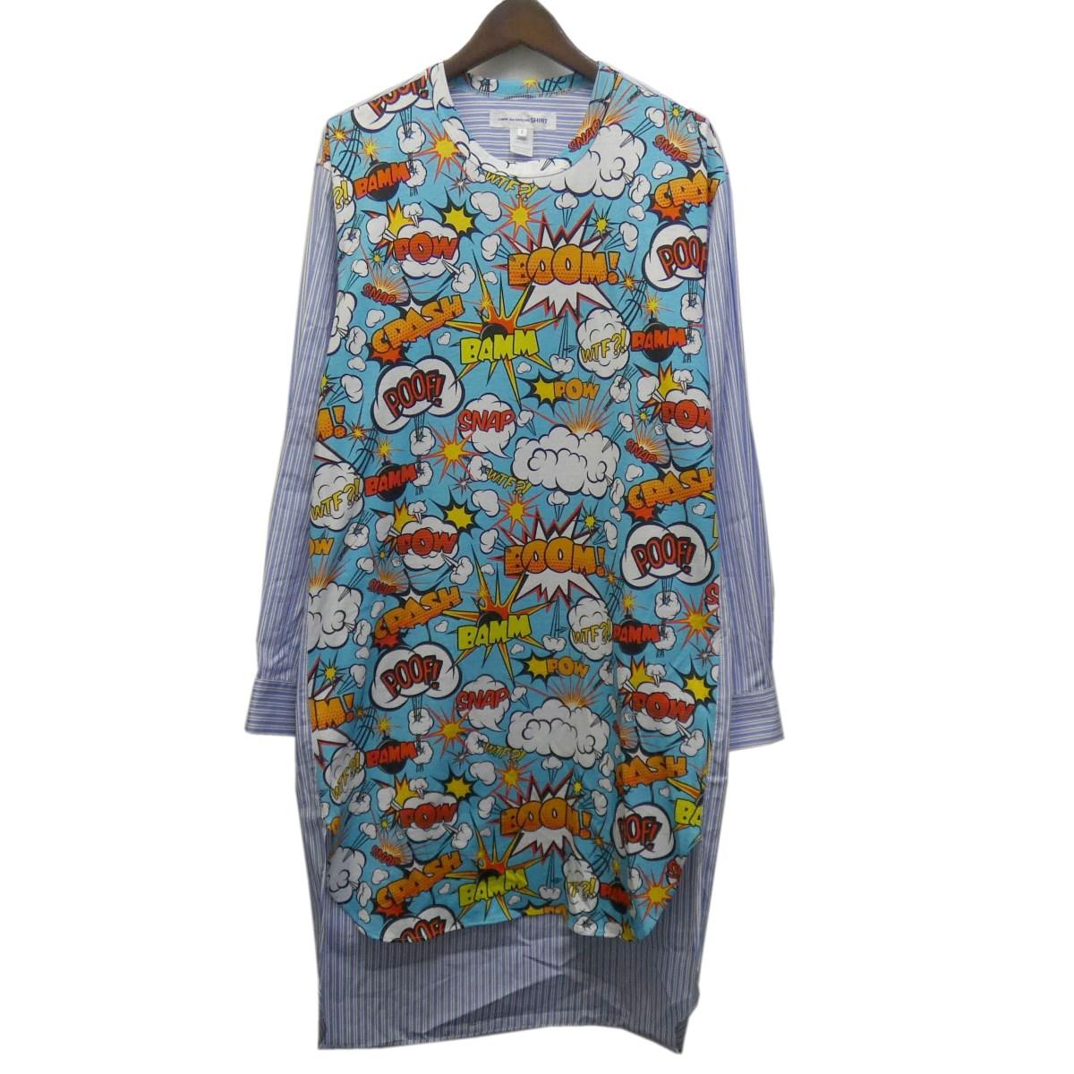 【中古】COMME des GARCONS SHIRT 19AW グラフィック切替ストライプシャツ ブルー×マルチ サイズ:S 【110420】(コムデギャルソンシャツ)