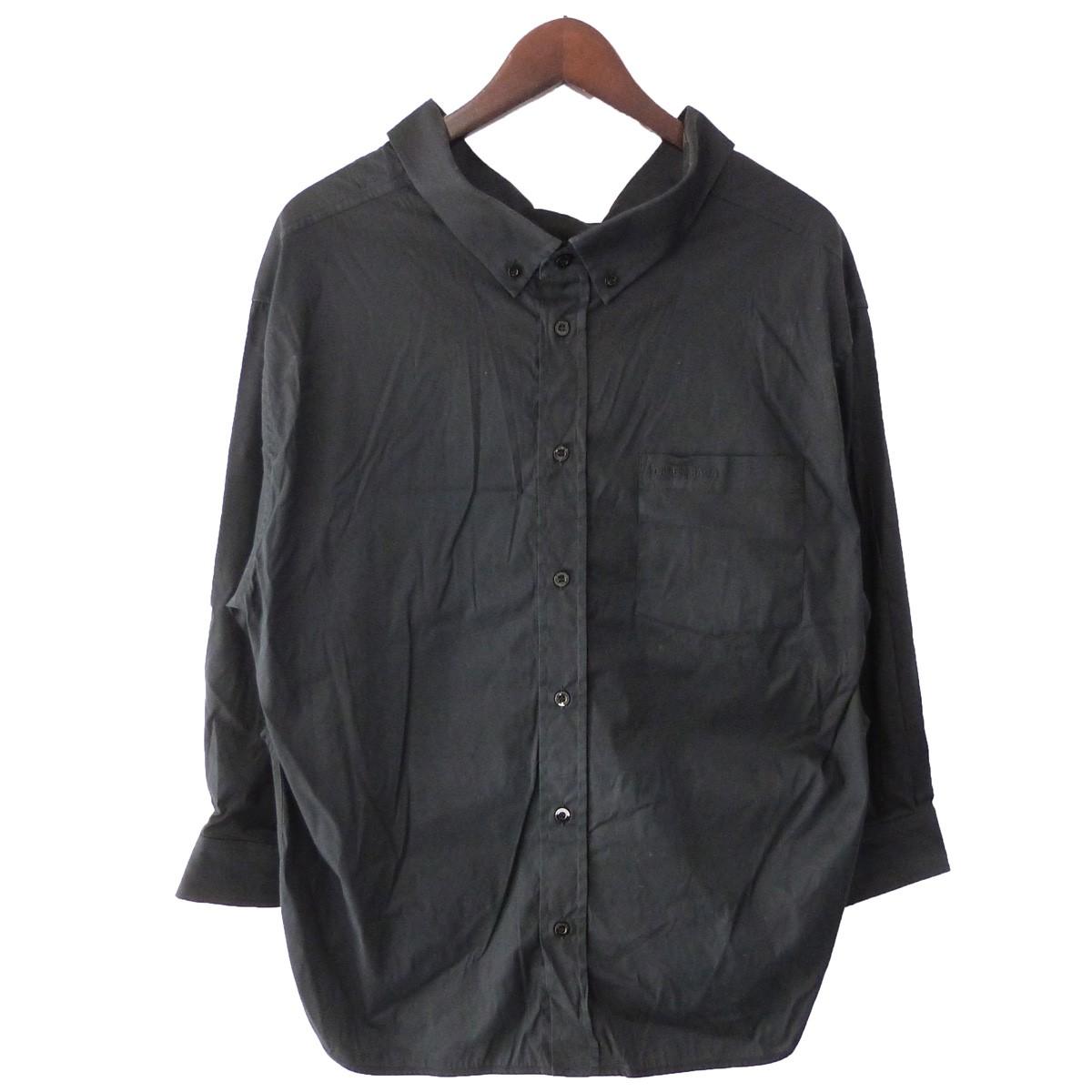 【中古】BALENCIAGA 18SS スウィングカラーシャツ ブラック サイズ:34 【120420】(バレンシアガ)