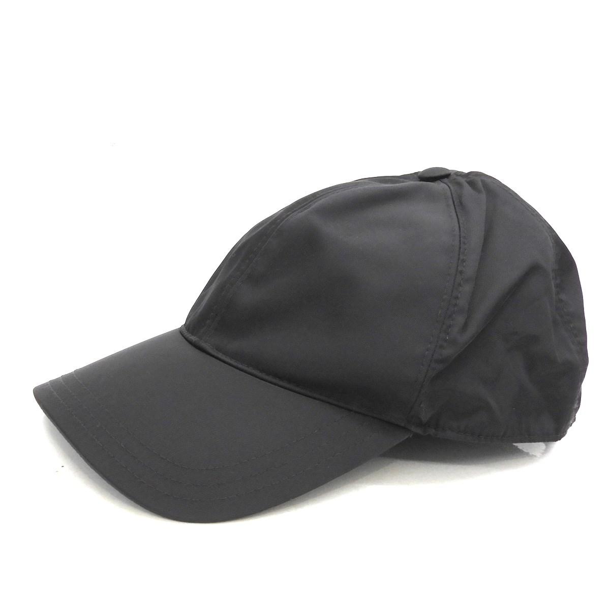 【中古】PRADA ベースボールキャップ ブラック サイズ:XL 【120420】(プラダ)