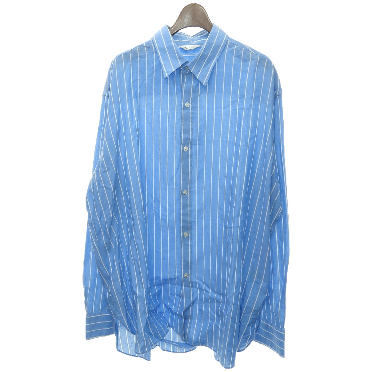 【中古】UNUSED 2017AW「Oversized Shirt」オーバーサイズストライプシャツ ブルー サイズ:3 【130420】(アンユーズド)